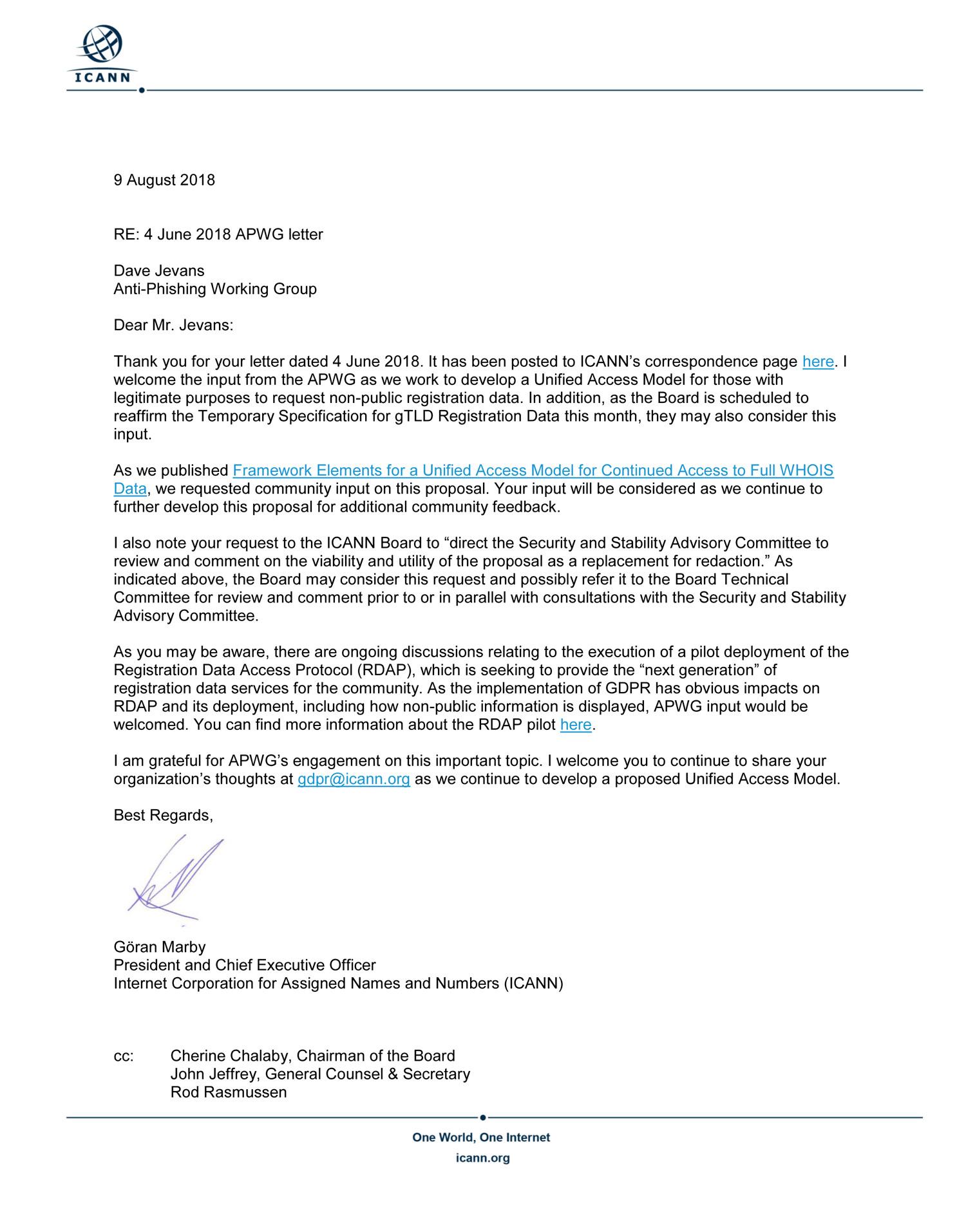 ICANN Response